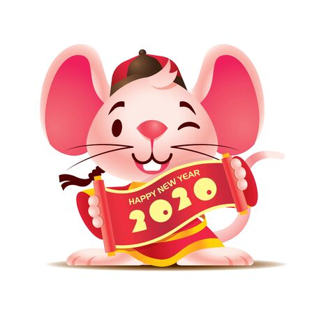 Cute happy white mouse with big ears with traditional Chinese jacket holding Chinese scrolls. Chinese New Year 2020. The year of the Rat. - Vector mascot character Ilustração