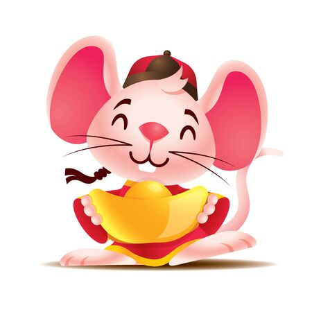 Cute happy white mouse with big ears with traditional Chinese jacket holding big gold ingot. Chinese New Year 2020. The year of ratmicemouse. - Vector mascot character Ilustração