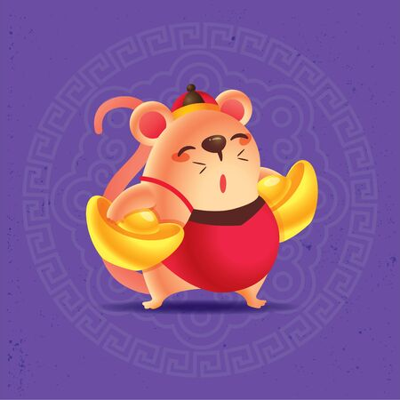 Chinese New Year 2020. Cute rat carrying big gold ingots with traditional oriental ornament design on purple background - vector
