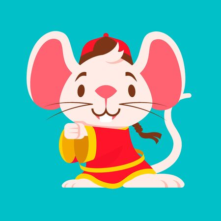 Cute white mouse with big ears wears traditional Chinese jacket greeting Gong Xi Fa Cai. Chinese New Year 2020. The year of rat/mice/mouse. - Vector Ilustração