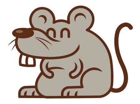 Cute Rat with big teeth mascot illustration - vector Иллюстрация