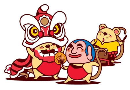 Cartoon cute rat enjoy lion dance with big head buddha and cute rat playing drum. Chinese New Year 2020 - vector