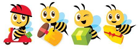 Cartoon cute bee mascot flat art vector set. Cartoon cute bee deliver product set. Cute bee ride scooter, cute bee carry organic honey bottle - Flat art vector character set Illusztráció