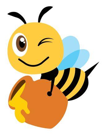 Cartoon cute happy bee carry a big honey pot fill with fresh organic honey - Flat art vector character Illusztráció