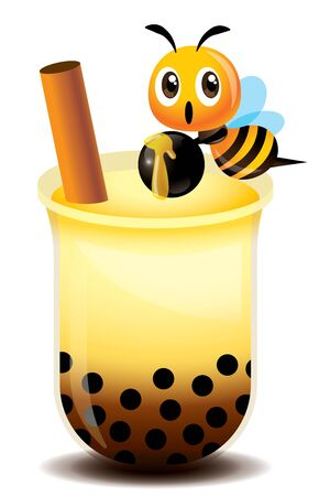 Cartoon cute bee holding chewy tapioca balls with fresh topping pearls and brown sugar bubble tea - vector mascot illustration