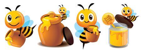 Insieme sveglio della mascotte dell'ape del fumetto. Ape sveglia del fumetto con l'insieme del vaso del miele Un'ape carina porta un vasetto di miele e una bottiglia di miele biologico - Set mascotte di personaggi vettoriali