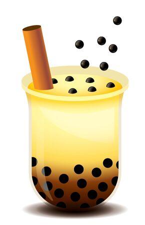 Thé à bulles avec des boules de tapioca moelleuses versées dans une tasse en plastique. Perles de garniture fraîches pour le thé à bulles de sucre brun - illustration vectorielle