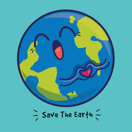 Cartoon cute big earth with love hand sign delivery message of protecting the environment - flat design minimal vector character Çizim