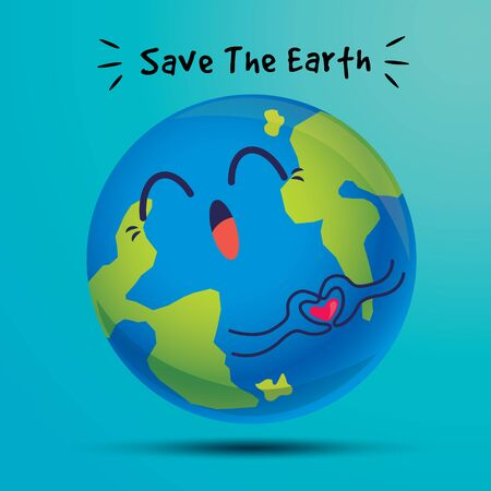 Earth day. Cartoon cute big earth with love hand sign delivery message of protecting the environment - flat design minimal vector character