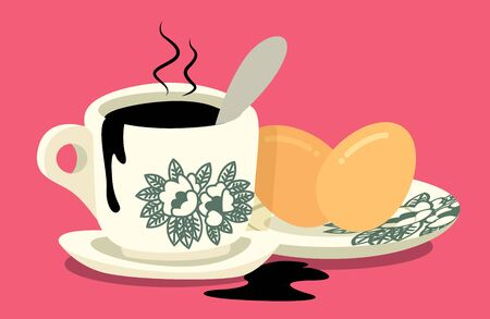 Breakfast set. Traditional oriental style coffee with half boiled eggs set on pink colour background. Vintage Nanyang style coffee cup and plate - flat art vector Illustration