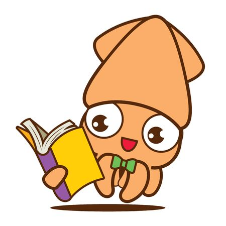 Cartoon cute squid with bowtie reading a book, vector mascot character. Back to school Isolated.