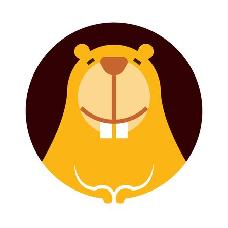 Cartoon cute little beaver character smiling with big teeth - vector character pictogram
