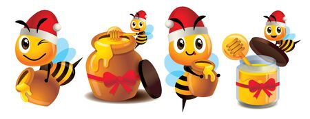 Merry Christmas. Cartoon cute bee mascot set. Cute bee wearing Christmas hat. Cartoon cute bee with honey pot set. Cute bee carries honey pot and organic honey bottle - Vector character mascot set