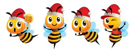 Merry Christmas! Cartoon cute bee mascot set. Cartoon cute bee wearing Christmas hat, showing victory sign, holding a honey dipper and wearing cap - Bee Vector character set