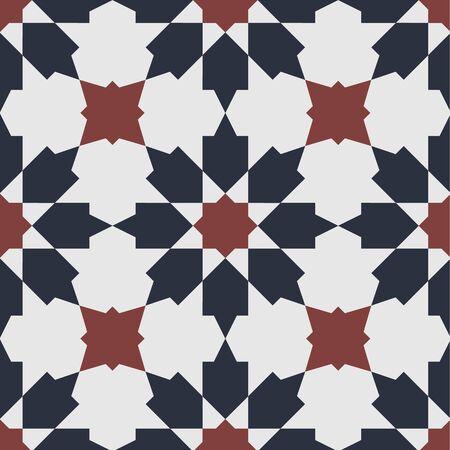 Original vintage Peranakan Tile seamless pattern. Peranakan cultural Malaysia. Geometrical floral seamless pattern - vector