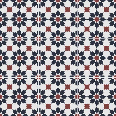Nahtloses Muster der ursprünglichen Peranakan-Fliese. Peranakan kulturelles Malaysia. Geometrisches nahtloses Blumenmuster - Vektortextur