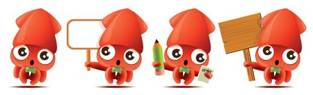 Cartoon cute squid with bowtie mascot set, cute squid holding big white/wooden signboards, taking order with pencil and notebook. - Vector mascot set Çizim