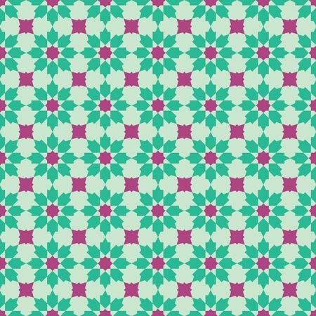 Original Peranakan Tile seamless pattern. Peranakan cultural Malaysia. Geometrical green and red floral seamless pattern - vector texture