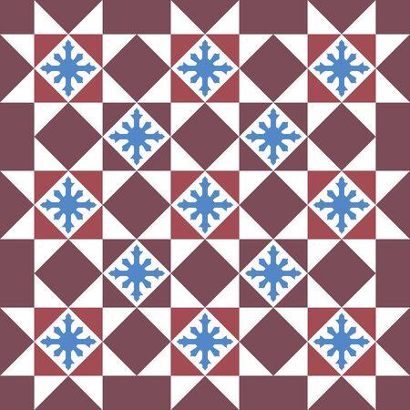 Baba and Nyonya Peranakan Tile and Mosaic pattern. Traditional seamless peranakan tile. Vintage Peranakan Floral Tile found in Georgetown Penang - vector pattern