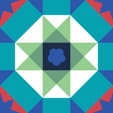 Baba and Nyonya culture Malaysia. Vintage Peranakan Tiles Pattern in Georgetown Penang. Peranakan cultural tile pattern.  Geometrical seamless pattern background - vector Çizim