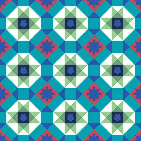 Vintage Peranakan Chinese Tiles Pattern in Georgetown Penang. Peranakan cultural tile pattern. Baba and Nyonya culture Malaysia. Geometrical seamless pattern background - vector pattern