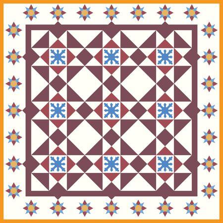Original Baba and Nyonya Peranakan Tile seamless pattern. Peranakan cultural Malaysia. Geometrical floral seamless pattern - vector texture
