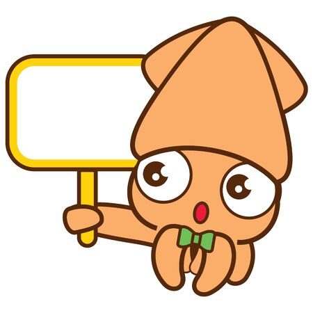 Cartoon cute squid with green bowtie holding big empty signboard - vector character