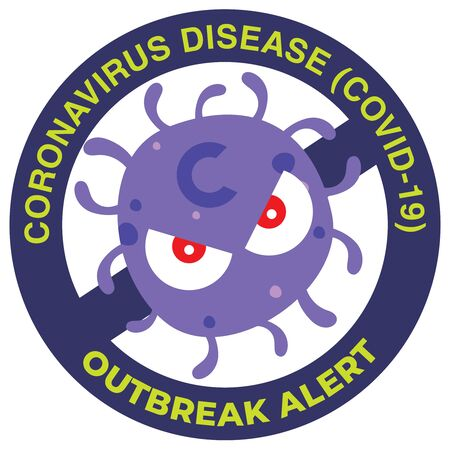 Sign caution for coronavirus covid-19. Protect yourself against coronavirus icon. Public's awareness of coronavirus. Çizim