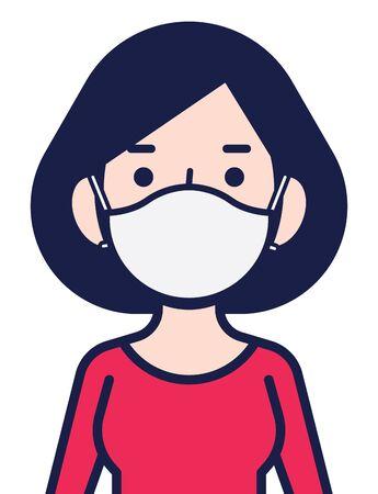 Coronavirus disease public awareness. Woman in white medical face mask. Woman protect herself against coronavirus (Covid-19) - vector character