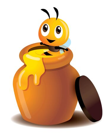 Cartoon cute bee enjoy soaking in a honey pot. Fresh honey leaking out from pot. Cute bee sitting in a fresh honey jar - vector character