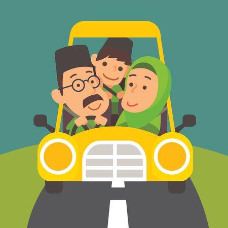Selamat Hari Raya Aidilfitri. Muslim family is driving back to hometown for Raya celebration (Balik Kampung for Raya festival) - vector illustration Çizim