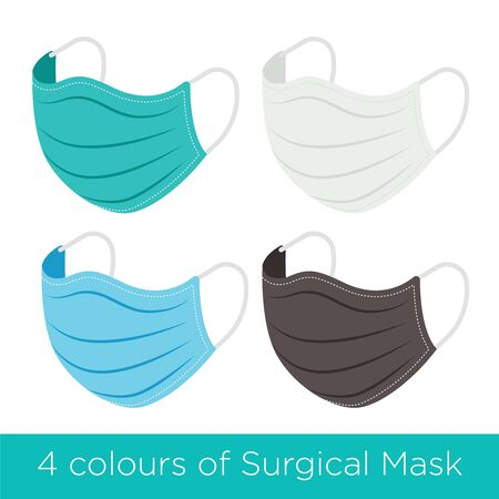 Set of 4 different colours of surgical protective mask to prevent coronavirus. Medical mask of blue colour for protection against flu and other diseases - vector