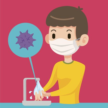 Man wearing surgical mask and washing hands to kill the bacteria. Washing hands to prevent attacked by bacteria and virus - vector character illustration
