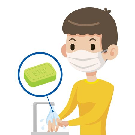 Man wearing protective mask and washing hands with surgical soap to protect against coronavirus - vector Çizim