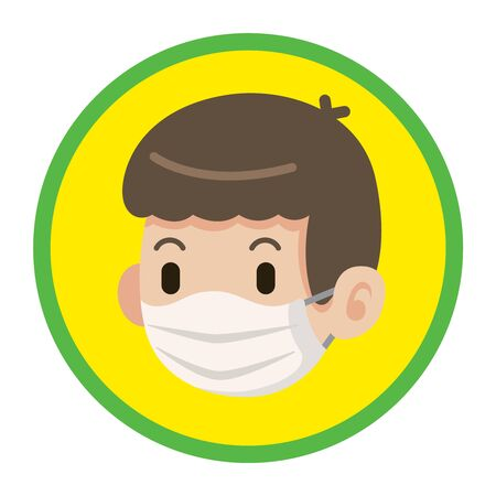 A mean wear surgical mask flat art icon with green and yellow circle - vector icon