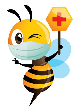 Cartoon cute bee wearing protective surgical mask and holding a red cross honey shape signage. Bee is fighting the bacteria and disease - vector illustration isolated