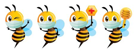 Cartoon cute bee mascot wear protective surgical mask series. Cute bee holding red cross honeycomb sign to protect against bacteria and virus. Vector illustration isolated