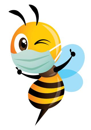 Cartoon cute bee wearing mask with victory hand signs, successfully fight the disease and virus - vector character