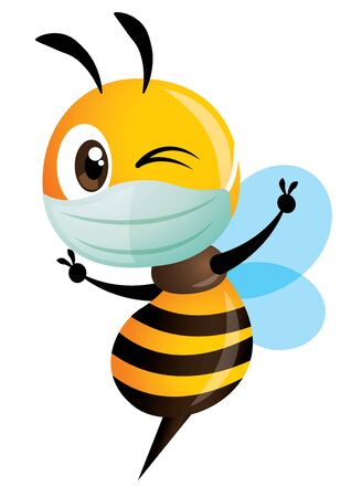 Cartoon cute bee wearing mask with victory hand signs, successfully fight the disease and virus