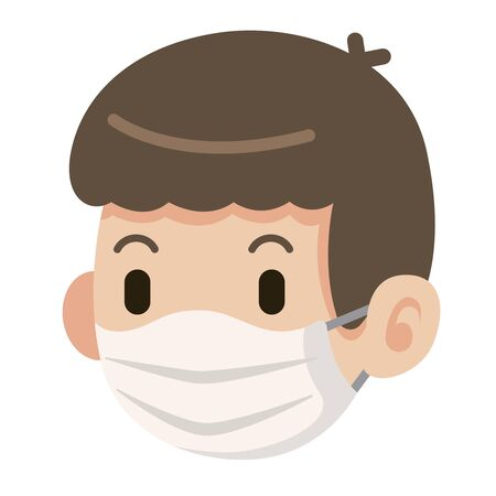 Flat art of male wearing protective surgical mask icon - vector