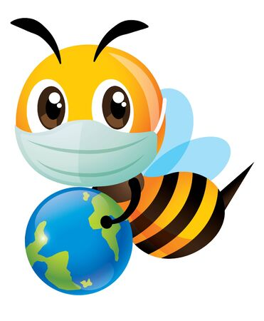 Save the bee and earth. Cartoon cute bee wearing surgical mask and carrying a little earth. To educate human to protect the green environment against pollution. - vector character Çizim