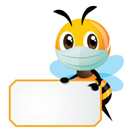 Cartoon cute bee wearing mask and holding a white empty signboard with yellow stripe - vector character