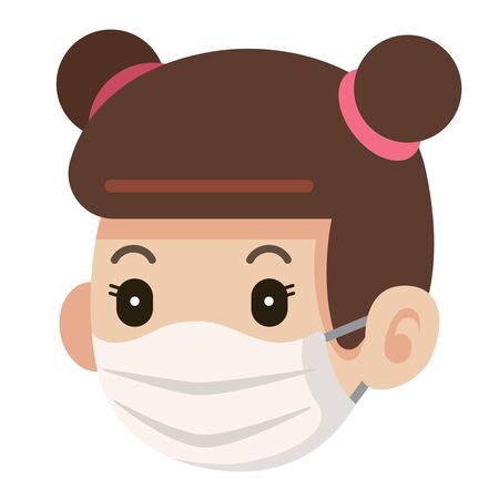 Flat art of girl or female wearing protective surgical mask icon