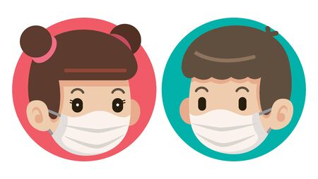 Flat art of female and male wearing protective surgical mask icons Çizim