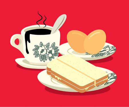 Breakfast set. Traditional oriental style coffee, half boiled eggs and kaya butter toast set on red colour background. Vintage Nanyang style coffee cup and plate. Translation: Coconut jam- flat art Illustration