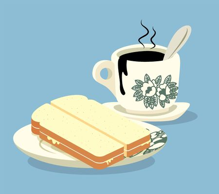 Breakfast set. Traditional oriental style coffee and kaya butter toast set .Vintage Nanyang style coffee cup and plate. Translation: Coconut jam- flat art Çizim