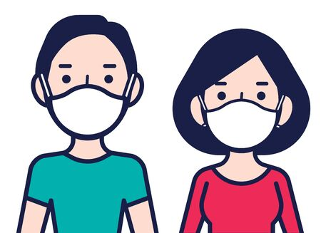 Coronavirus disease public awareness. Man and woman in protective surgical face mask. Female and male are protect against coronavirus (Covid-19) - vector character