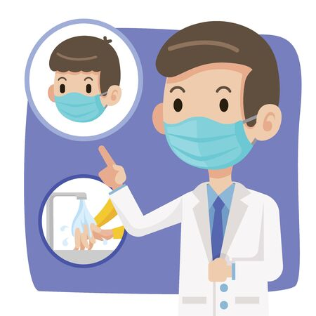 Doctor wearing protective surgical mask and advise people to wear surgical mask and washing hands to protect against virus coronavirus Covid-19 - vector character