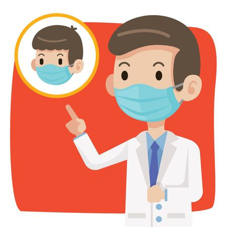Doctor wearing protective surgical mask and advise people to wear surgical mask to protect against virus coronavirus Covid-19 - vector character Çizim