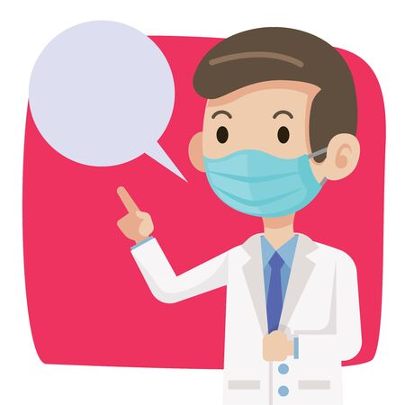 Doctor wearing protective surgical mask for protect against virus Covid-19. Doctor advises public to wear surgical mask to protect against virus and bacteria. - vector character